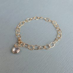 14k gold filled crystal charm bracelet