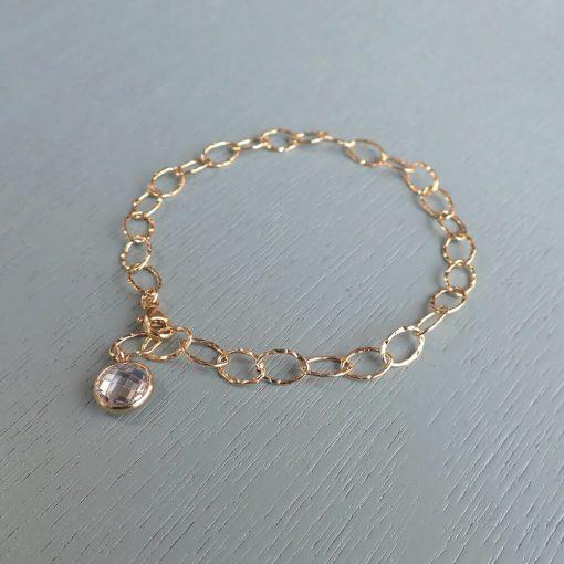 14k gold filled crystal charm bracelet