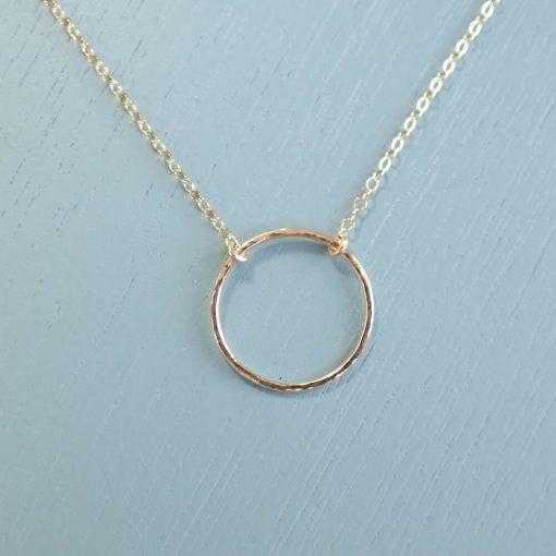 14k gold filled circle necklace hammered