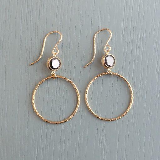 Gold & Black Crystal Earrings