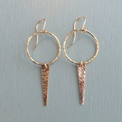 Gold Circle and Spike Earrings