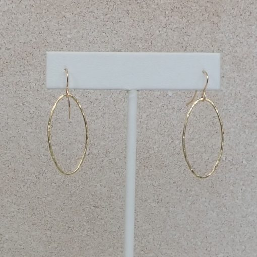 Gold Hammered Oval Earrings