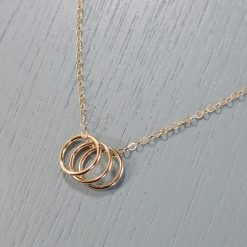 Gold Three Ring Necklace