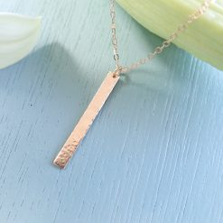 14k Rose gold filled bar necklace