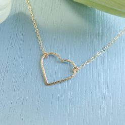 14k gold filled sparkle heart necklace