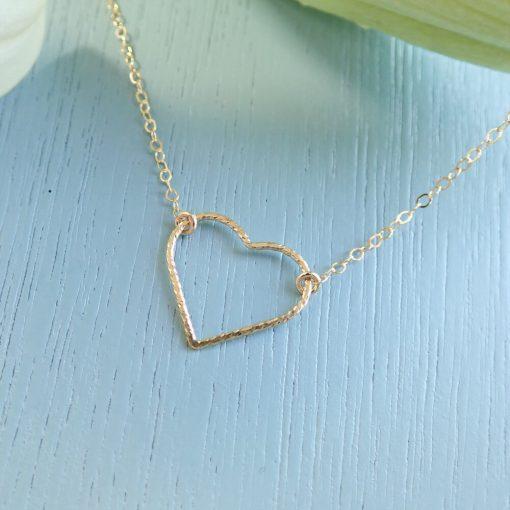 14k gold filled sparkle heart necklace