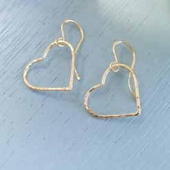 14k Gold filled Hammered Heart Earrings