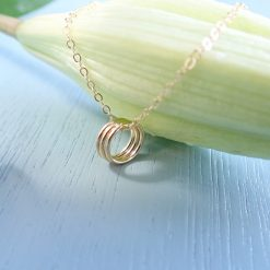 three 14k gold filled rings circles necklace