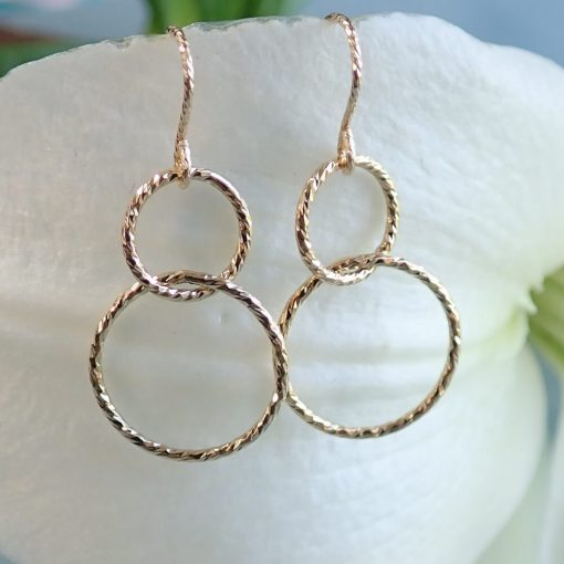 14k gold filled interlocking circles drop sparkle earrings