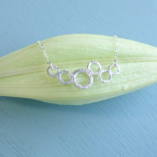 sterling silver cluster circle necklace