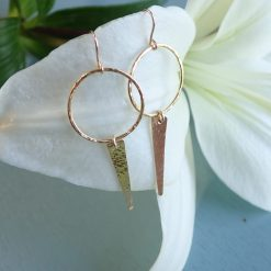 14k gold filled circle and spike drop earrings