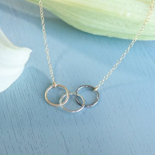 14k gold filled and silver interlocking circles necklace