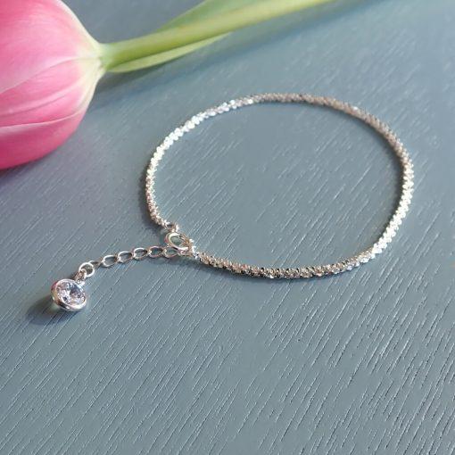 sterling silver sparkle crystal bracelet