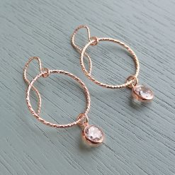 Rose Gold Clear Crystal Earrings