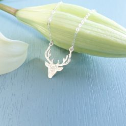 Sterling silver hammered deer necklace nature