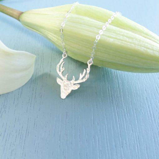 Sterling silver hammered deer necklace nature