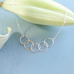 Silver and gold interlocking circles necklace
