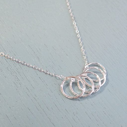 Silver Five Ring Necklace
