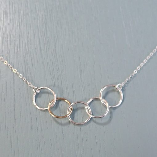 Silver & Gold Five Circle Necklace