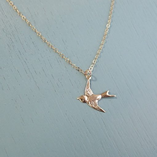 gold filled swallow necklace