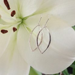 sterling silver hammered leaf earrings