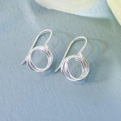Silver three rings earrings