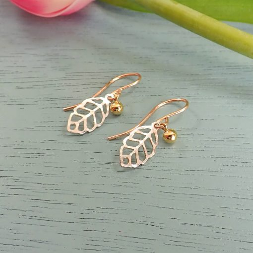 Multitone Tiny Leaf Earrings
