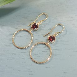 14k gold filled red crystal earrings
