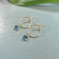 14k gold filled deep blue crystal earrings