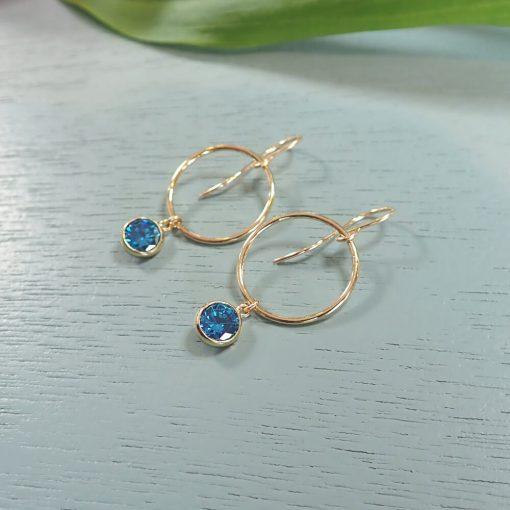 14k gold filled deep blue crystal earrings