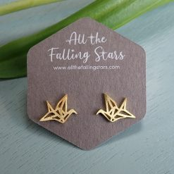 Gold vermeil geometric bird earrings