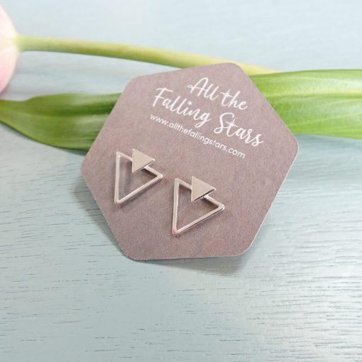 Silvergeometric triangles earrings