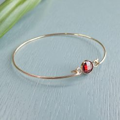14k gold filled red crystal bracelet