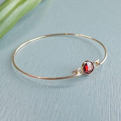 14k gold filled red crystal bracelet