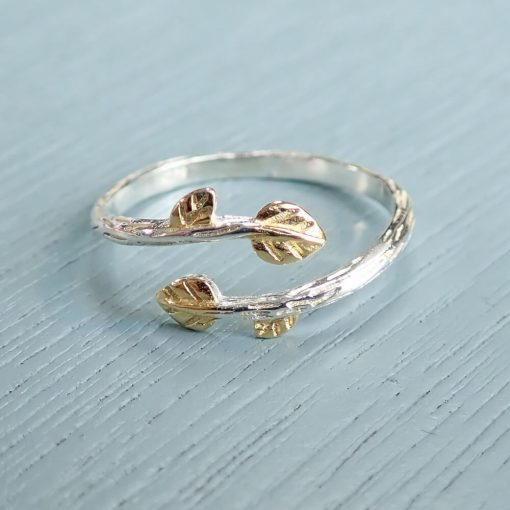 Gold and silver twig ring with leaves