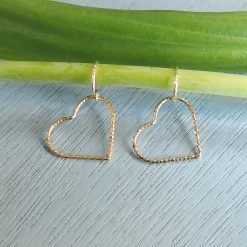 14k gold filled sparkle heart earrings
