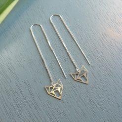 sterling silver geometric fox earrings