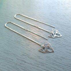 silver geometric fox earrings