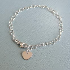 sterling silver heart links bracelet