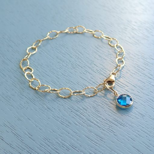 14k gold filled deep blue crystal bracelet