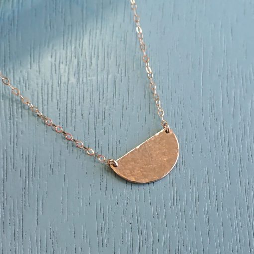 Rose gold semi circle hammered necklace