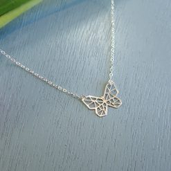 Sterling silver geometric butterfly necklace