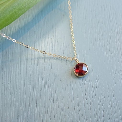 Gold red crystal necklace