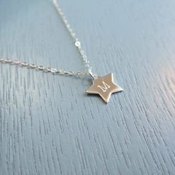 Sterling silver star initial necklace