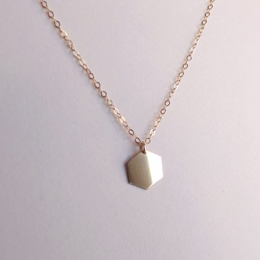14k gold filled hexagon necklace