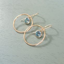 14k gold filled light blue crystal earrings