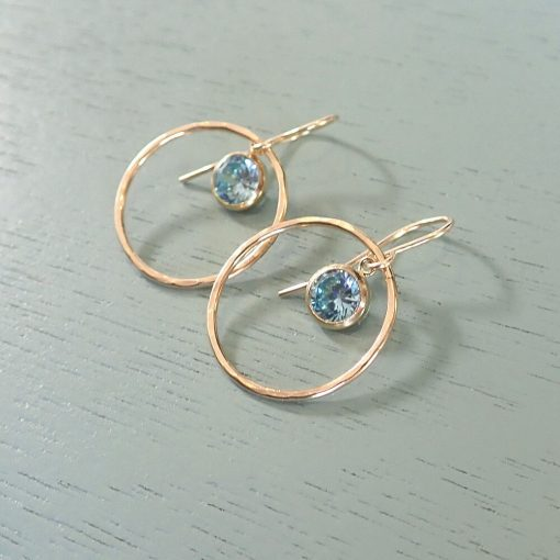 14k gold filled light blue crystal earrings