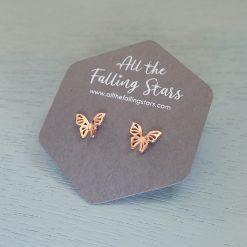 rose gold butterfly stud earrings