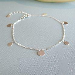Sterling silver disc bracelet dainty