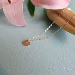 rose gold disc initial personalised necklace